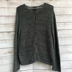 SIGRID OLSEN SPORT Grey Knit Buttoned Cardigan